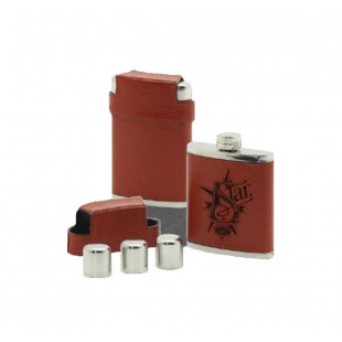Laser Engravable Leather Flask & Shot Glass Set - 7 oz.