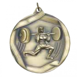 "Female Weight Lifter 2-1/4"" Die Cast Medal"