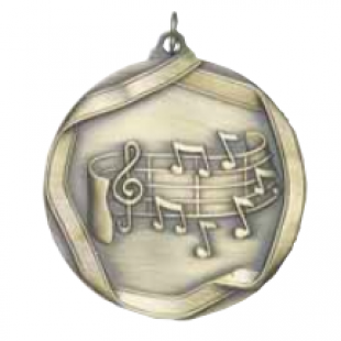 "Music 2-1/4"" Die Cast Medal"