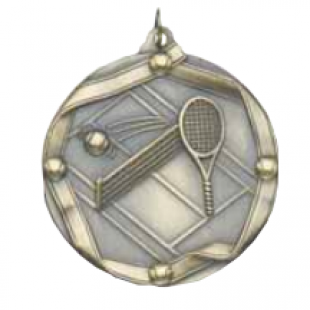 "Tennis 2-1/4"" Die Cast Medal"
