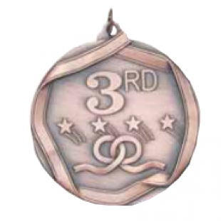 "Third Place 2-1/4"" Die Cast Medal"